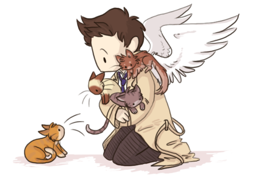 Supernatural wolpeyper possibly containing anime called Castiel