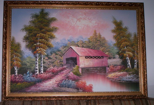 """Covered Bridge Framed Painting (Oil on Canvas) (39"""" x 27"""")"""