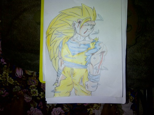Dragon Ball Z Kai wolpeyper possibly containing a sign and anime entitled Goku ssj3