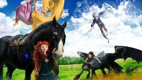 The Big Four 壁紙 containing a lippizan, a horse trail, and a horse wrangler entitled Jack, Rapunzel, Merida, and Hiccup