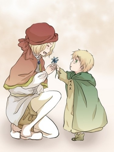 Hetalia wallpaper possibly containing anime titled Kid! France and England