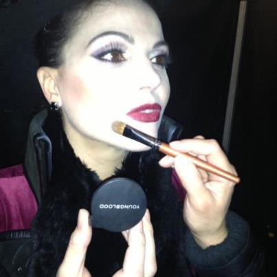 Lana getting her makeup touched up