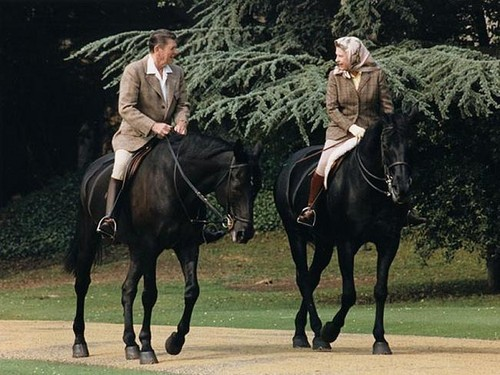 Queen Elizabeth horseriding with President Reagan in 1982