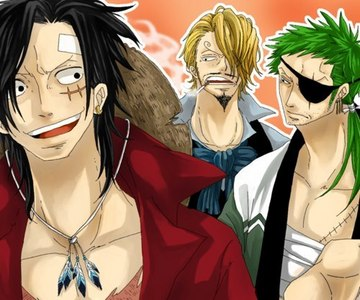 One Piece karatasi la kupamba ukuta called Sanji, Zoro, Luffy - Grown Up!