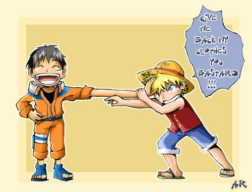 Switching Clothes with Luffy hehe