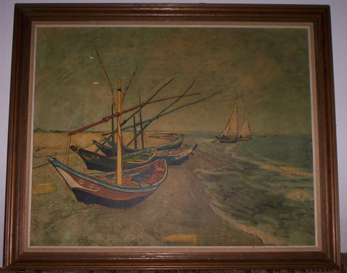 "봉고차, 반 Gogh Framed Lithograph (Boats of Saintes Marie) (31"" x 26"")"
