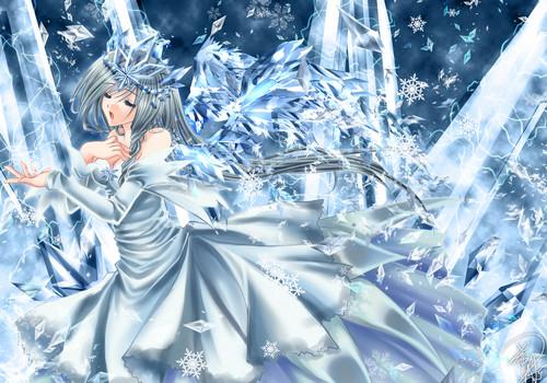 Anime girl snow