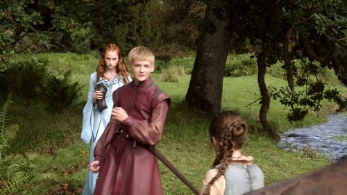 arya and sansa with joffrey