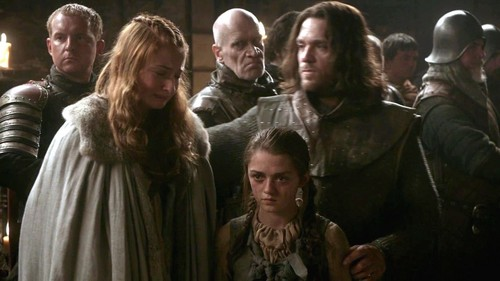 arya and sansa with jory