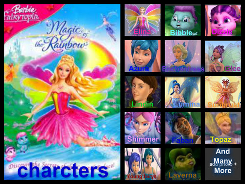 বার্বি fairytopia magic of the রামধনু charcters