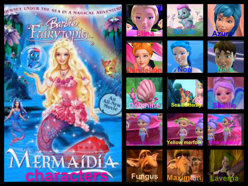 Barbie films achtergrond with a stained glass window and anime titled barbie fairytopia mermaidia characters