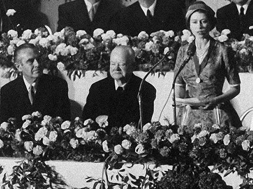 Queen Elizabeth II wallpaper with a bouquet and a japanese apricot called former President Herbet Hoover with Queen Elizabeth II in 1957