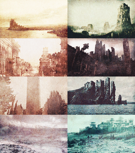 Different locations in Westeros and Essos