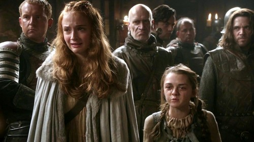 sansa and arya with jory