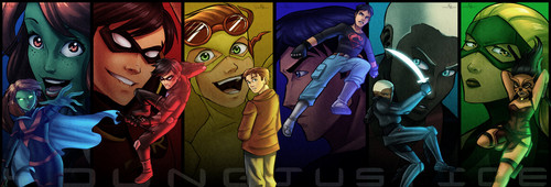 Young Justice Hintergrund with Anime titled the team