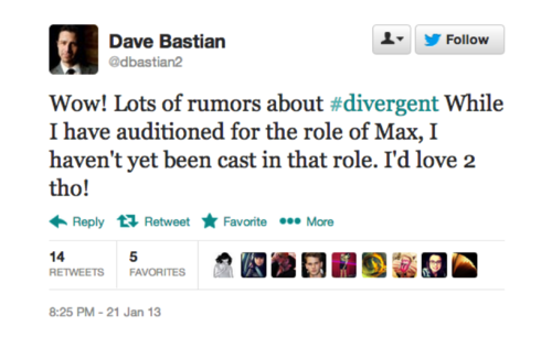 Actors tweet about Divergent casting news!