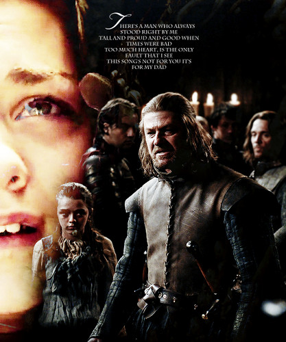 House Stark wallpaper probably containing a sign, a street, and a fur coat entitled Arya & Ned Stark