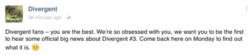 Big 'Divergent #3' news coming Monday!