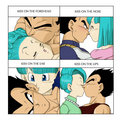 Bulma and vegeta kisses