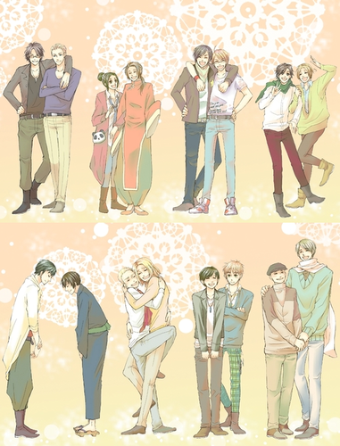 Hetalia wallpaper possibly containing anime entitled Characters with Japanese Seiyuus
