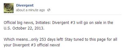 Divergent #3 release 日期 revealed!