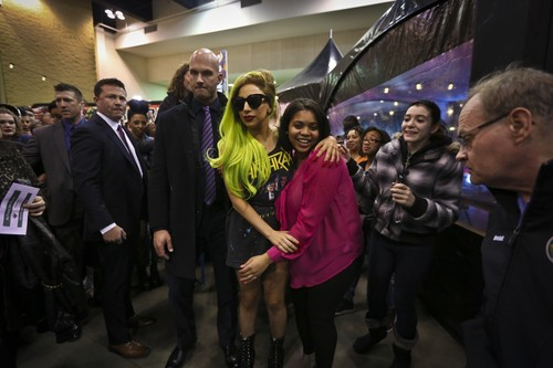 Gaga visiting the Born Brave Bus in St. Paul (Feb. 6)