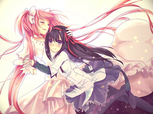 Puella Magi Madoka Magica hình nền possibly with a bouquet and anime called HomuMado