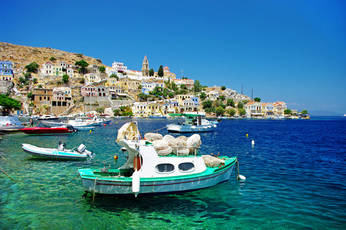 Europe wallpaper with a marina, a pontoon, and a business district titled Islands of Greece