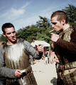 JRM &amp; Henry Cavill on set - the-tudors photo