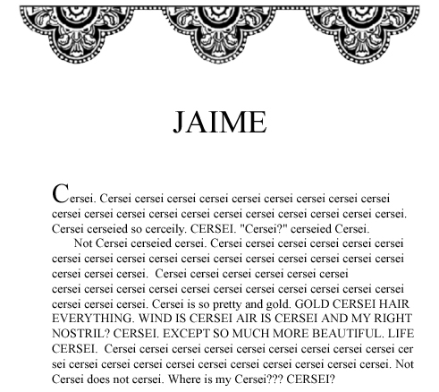 Jaime's first POV chapter