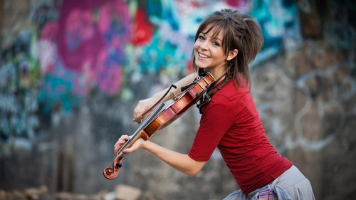 Music wallpaper possibly with a violist titled Lindsey Stirling