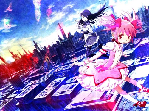 Puella Magi Madoka Magica hình nền probably containing a street, a business district, and a bouquet called Magica~Wallpaper