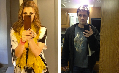 Nathan Fillion & Stana Katic karatasi la kupamba ukuta possibly with a spatula called Nathan Fillion & Stana Katic