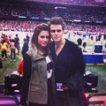 Nina Dobrev and Paul Wesley at the Super Bowl