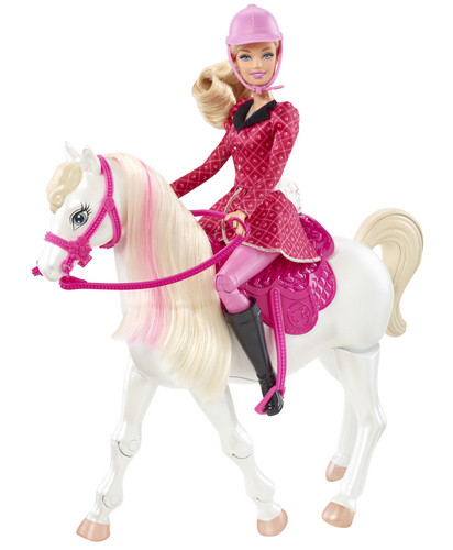 Sinema za Barbie karatasi la kupamba ukuta possibly with a lippizan and a bouquet called pink Boots and Ponytails Barbie