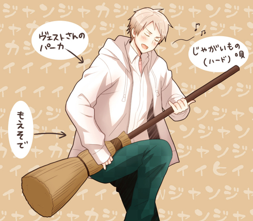 Hetalia wolpeyper called Prussia jamming on his walis