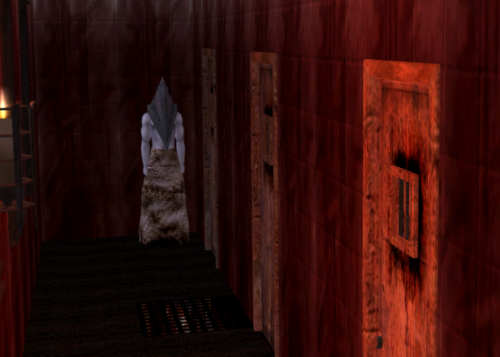 Silent Hill wallpaper possibly with a drawing room, a living room, and a family room titled Pyramid Head Sims 2 style