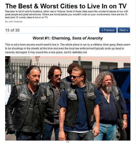 Sons Of Anarchy wallpaper called The worst city on TV to live in is... Charming?