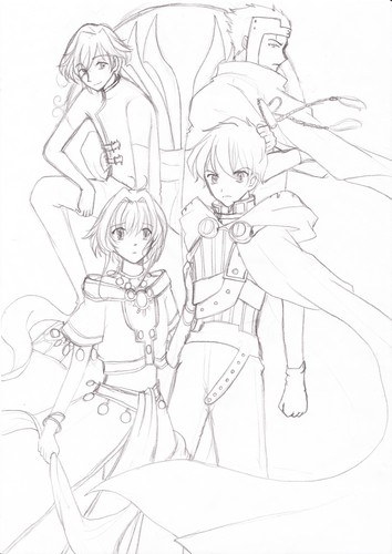 Drawing 壁紙 with アニメ titled Tsubasa Chronicle-copy picture-unpainted