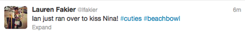 Tweet- Ian kisses Nina