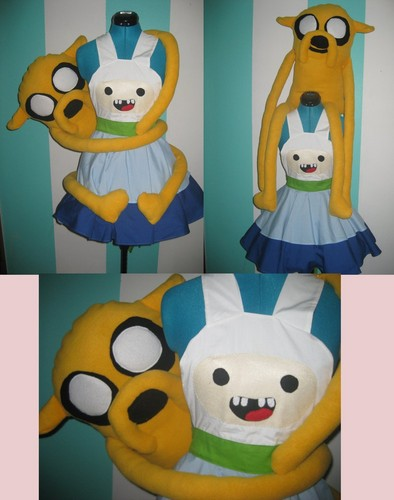 Adventure Time With Finn and Jake wallpaper entitled jake plushie with finn