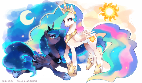 小马宝莉 壁纸 possibly with 日本动漫 called princess celestia & princess luna