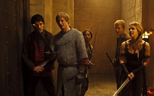 Bradley James wallpaper probably with a chain mail and a hauberk entitled ''Merlin''_4 season