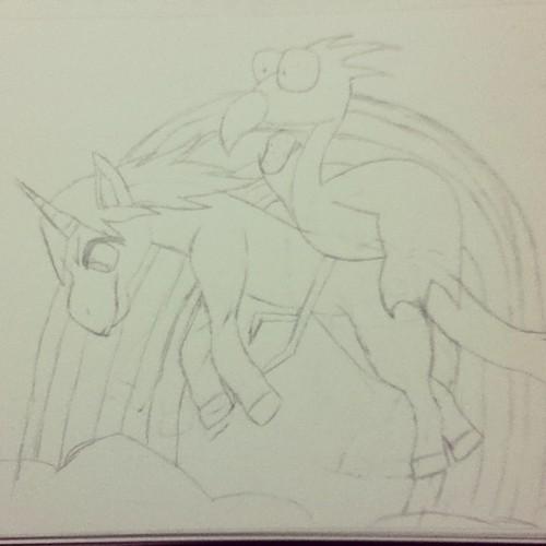 A flamant, flamant rose Riding a Unicorn Across a arc en ciel Holding a Potato (zanhar1's request)