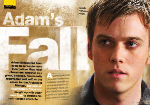 Jake Abel fondo de pantalla possibly with a newspaper, a sign, and anime called Adam Milligan - SPN
