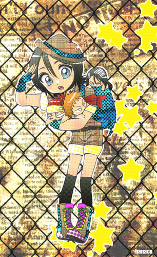 Chibi wallpaper with a chainlink fence titled BLEACH