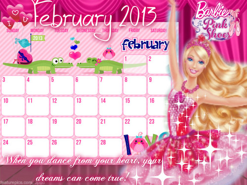 Barbie Calendar February 2013 - Kristyn Farraday