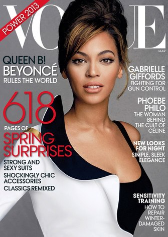 Beyonce پیپر وال containing a portrait called Beyonce on the cover of Vogue March 2013 issue