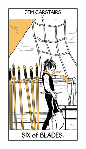 Cassandra Jean's Tarot Cards: Young Jem Carstairs {Six of Blades}.