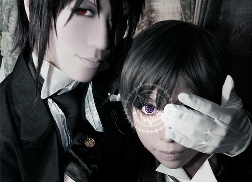 Kuroshitsuji wallpaper containing a business suit and a suit titled Ciel & Sebastian Cosplay